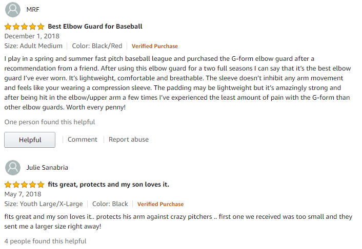 reviews on batter's elbow guard