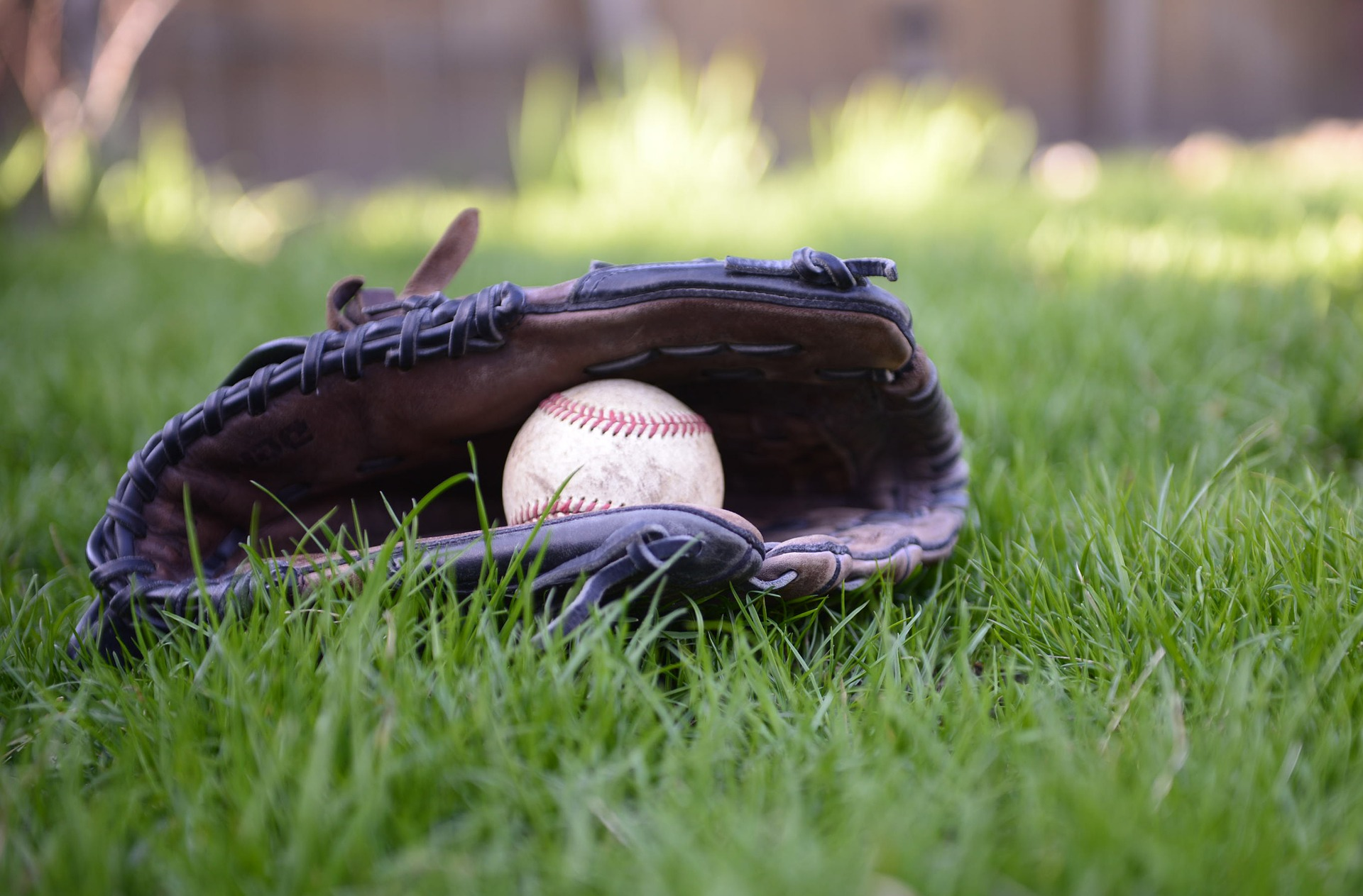 Baseball glove with a baseball inside  laying on the grass: Types of Baseball Gloves [MindfuseBaseball.com]