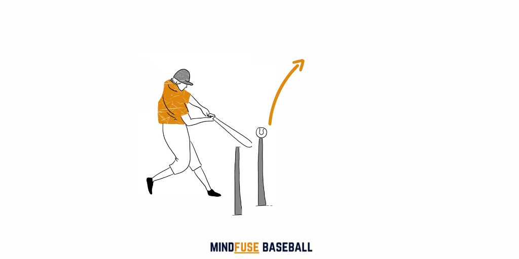 Baseball player taking a swing at a ball on top of a hitting tee. There is another tee behind the first tee, this is to check for swing 'dips' to help improve the batters wing: Baseball Hitting Drills