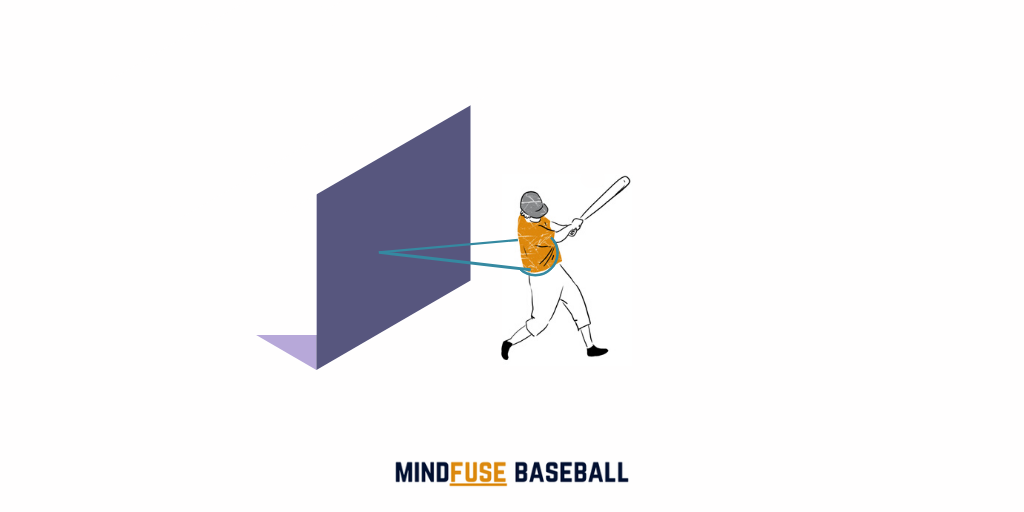 Baseball player with a band tied round them and attached to a wall or fence behind them to help them keep teir weight back when hitting the ball: Hitting Drill