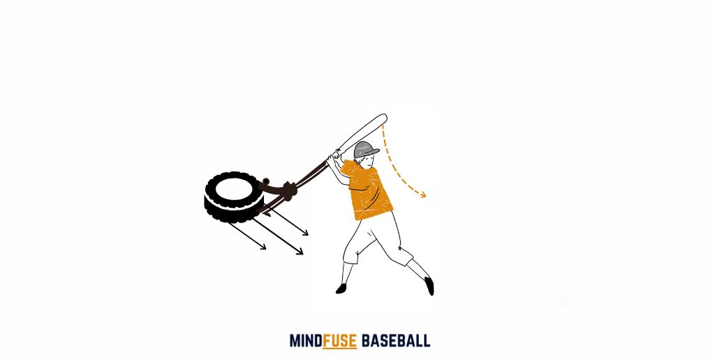 Baseball player using a tire tied to his bat to dry swing Increasing his power and strength when batting: Baseball Hitting Drills