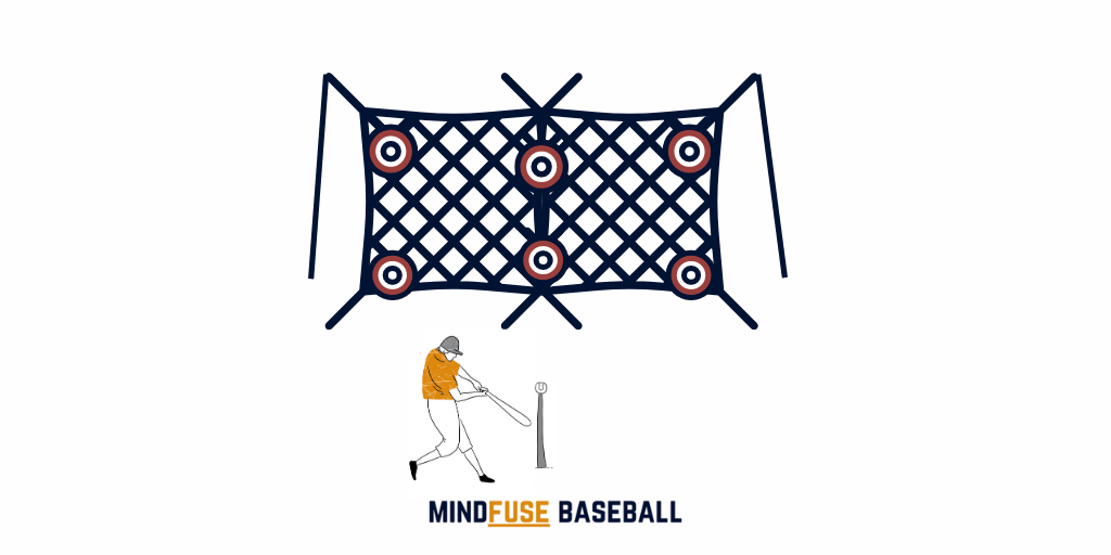 Baseball player batting a ball off a tee towards a net with targets on it