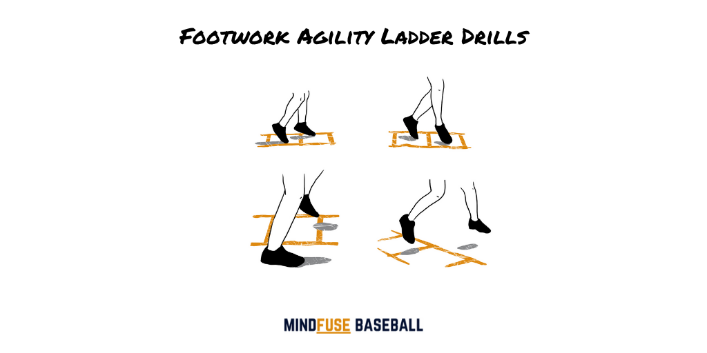 Baseball conditioning drills using an agility ladder. Footwork demonstration of agility ladder drills