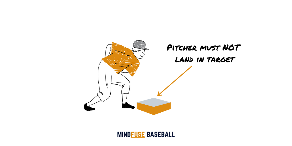 Baseball pitcher on the follow through stopping short of standing on the target mat infront of them
