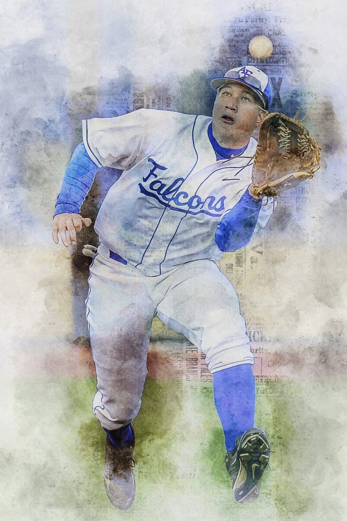 Baseball outfielder wearing white kit catching the ball with his glove